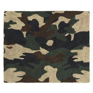 Camo Green / Brown Area Rug