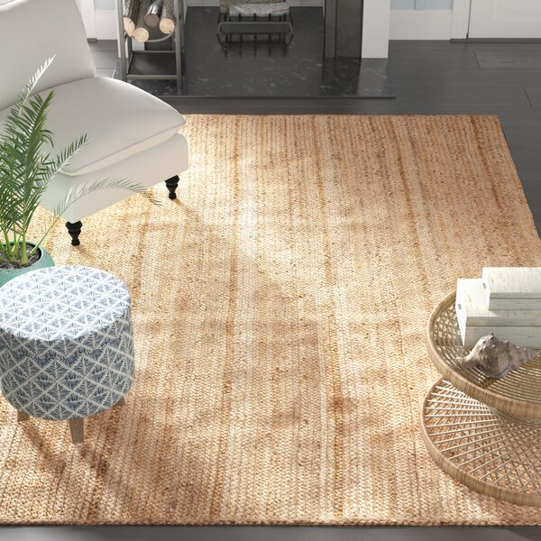 Latham Rigo Jute Hand-Woven Tan Area Rug by Beachcrest Home