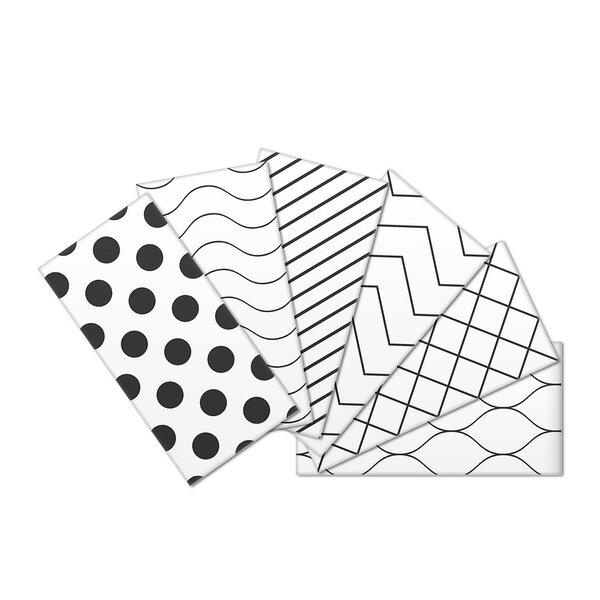 Crystal Skin 3 x 6 Glass Subway Tile in Black/White by SkinnyTile