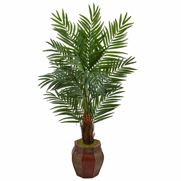 Artificial Areca Floor Palm Tree in Round Planter by Bayou Breeze