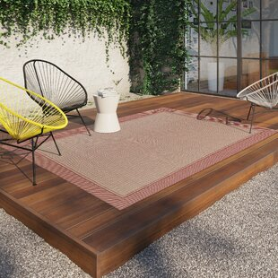 Gluck Border Red Indoor/Outdoor Area Rug by Breakwater Bay
