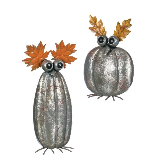 2 Piece Autumn Pumpkin Owl Tabletop Décor Set by