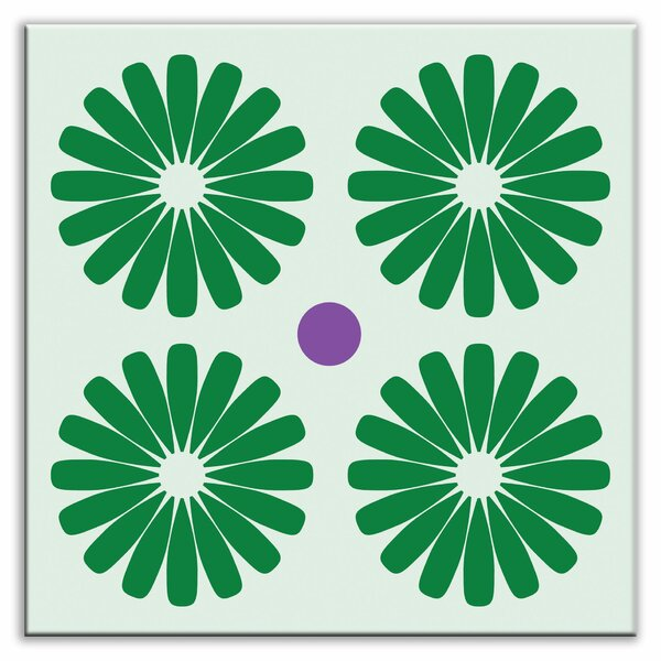 Folksy Love 4-1/4 x 4-1/4 Glossy Decorative Tile in Pinwheels Green by Oscar & Izzy