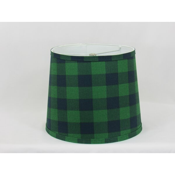 11 H Cotton Drum Lamp Shade ( Spider ) in Green/Blue