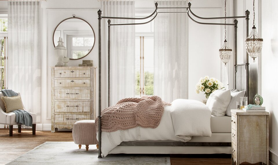 Blush rose throw on a beautiful bed in a French country romantic bedroom. The Servier bedroom collection is a part of Kelly Clarkson Home at Wayfair. #kellyclarksonhome #frenchcountry #bedroomdecor #interiordesign #furniture #homedecor
