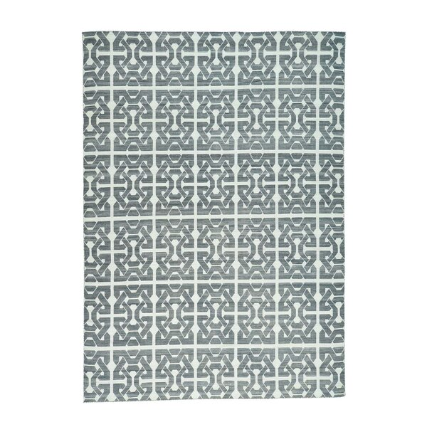 Flat Weave Reversible Kilim Hand-Knotted Charcoal Black/Ivory Area Rug by Rosdorf Park