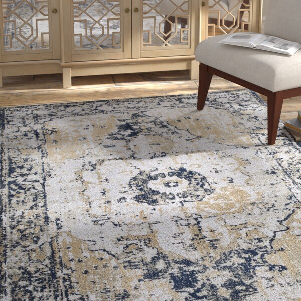Eaglin Vintage Navy/Gray Area Rug by Bungalow Rose