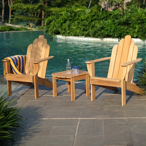 Cynthia Adirondack 3 Piece Teak Complete Patio Set by Bayou Breeze Bayou Breeze