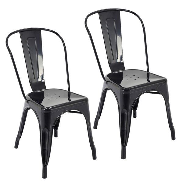 Feeney Stackable Indoor and Outdoor Rust-Resistant Metal Dining Chair (Set of 4) by Ivy Bronx