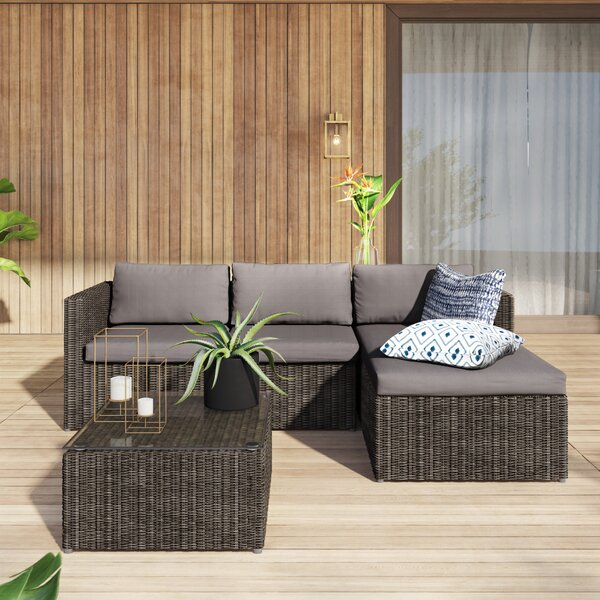 Carbone 3 Piece Rattan Sectional Seating Group with Cushions Mercury Row MCRW2498