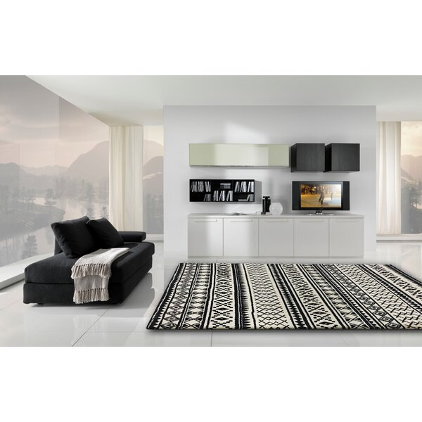 Gagliano Shag Hand Tufted Black/White Indoor Area Rug by Brayden Studio