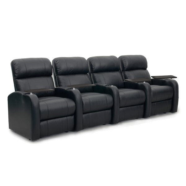 Diesel Leather Home Theater Row Seating (Row Of 4) By Latitude Run