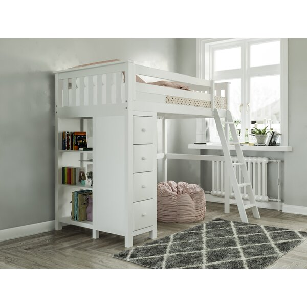 Getty Twin Loft Bed with Drawers and Bookcase by Harriet Bee