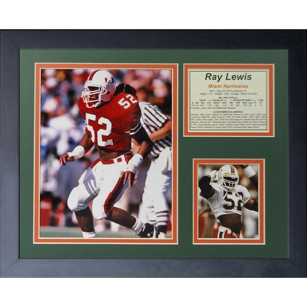 Ray Lewis - Miami Hurricanes Framed Memorabilia by Legends Never Die