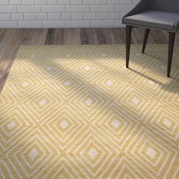 Haglund Yellow Hooked Area Rug by Wrought Studio