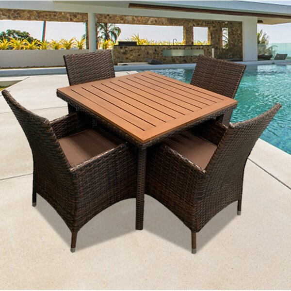 Vinod 5 Piece Dining Set with Cushions by Charlton Home