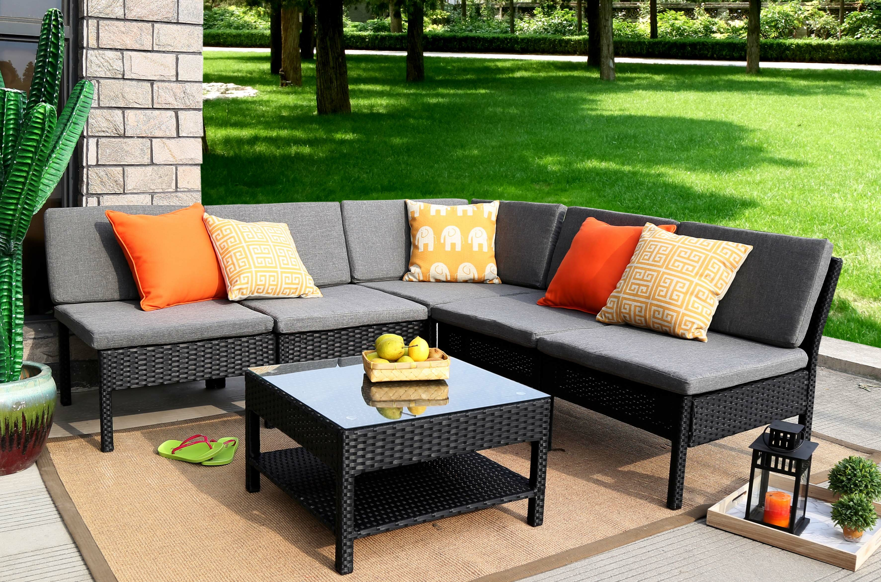 Zipcode Design Maryann plete Patio Garden 6 Piece Sectional Set