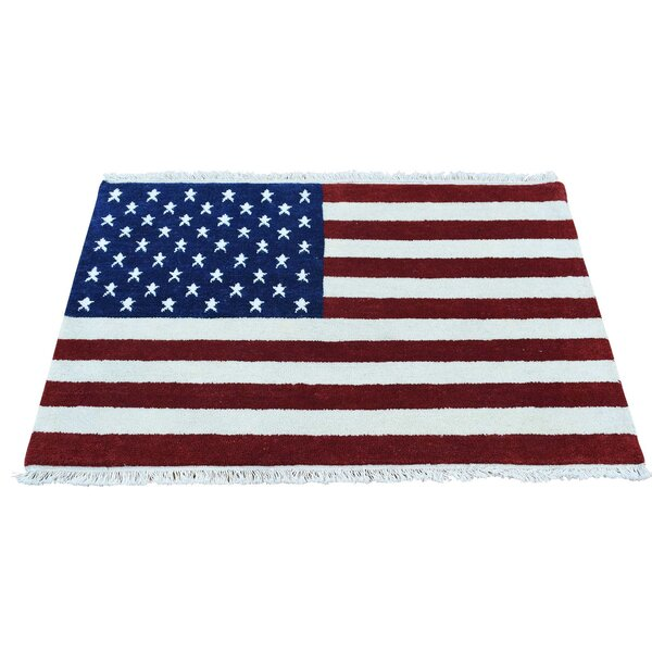 American Flag Hand-Knotted Red/Blue Area Rug by August Grove
