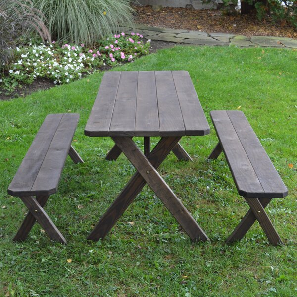 Spafford Solid Wood Picnic Table by Loon Peak
