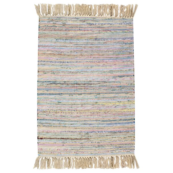 Bombay Hand Woven Cotton Pink/Blue Area Rug by CLM