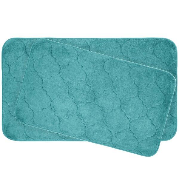 Faymore Plush Rectangle Memory Foam Non-Slip 2 piece Bath Rug Set