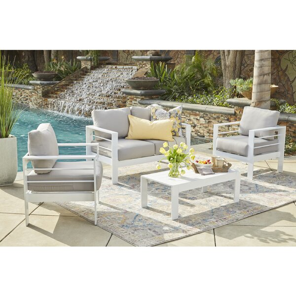 Midford 4 Piece Conversation Set with Cushions by Wrought Studio