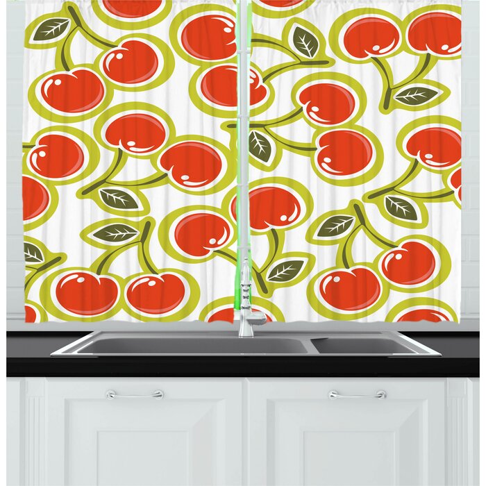 2 Piece Fruit Yummy Ornate Cherry And Leaves Pattern Fresh Food Fun Art Picture Kitchen Curtain