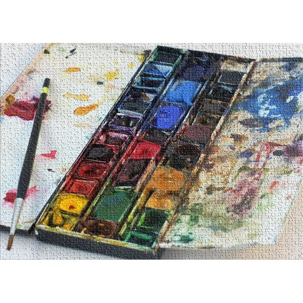 Watercolor Paint Light Gray Area Rug