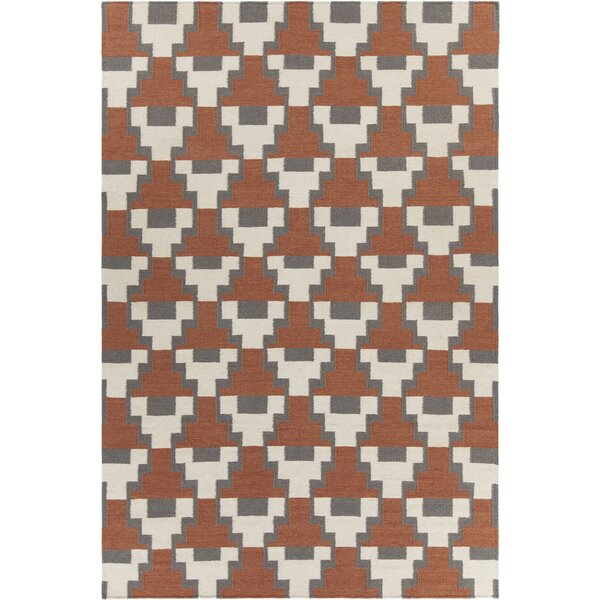 Charlene Textured Contemporary Rust Area Rug by Corrigan Studio