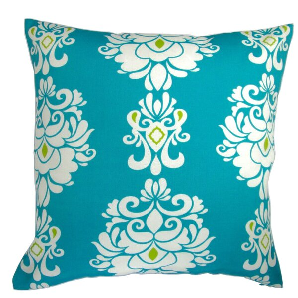 Galiano Damask Print in Peacock Indoor/Outdoor Pillow by Bungalow Rose
