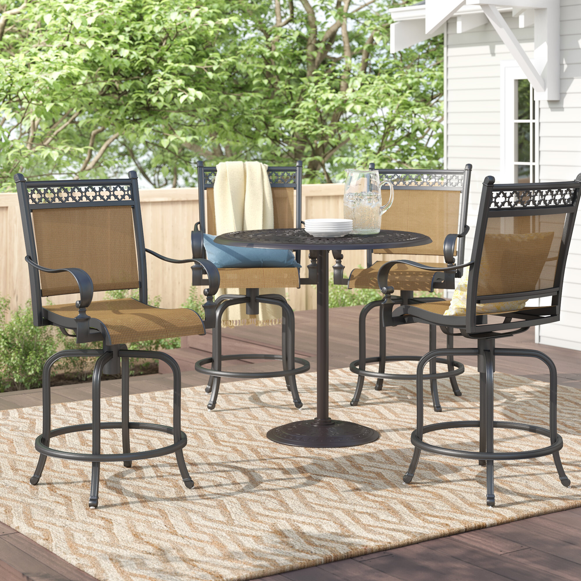"Sol 72 Outdoor Curacao Swivel 30"" Patio Bar Stool 