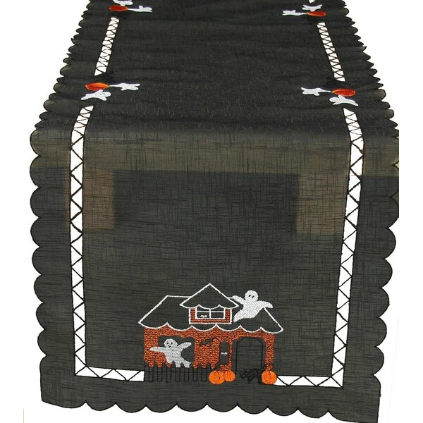 Haunted House Embroidered Cutwork Table Runner by Xia Home Fashions