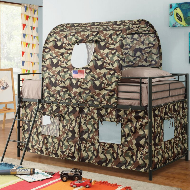 Zoomie Kids Kali Camouflage Tent Twin Loft Bed Reviews Wayfair