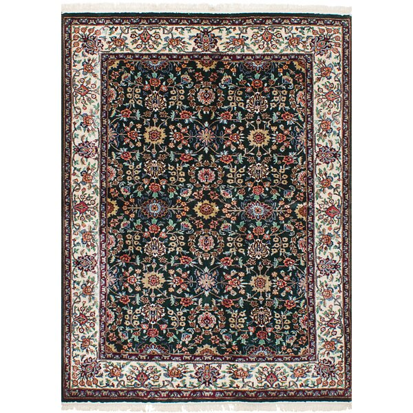 One-of-a-Kind Lacefield Hand-Knotted Silk Dark Green/Red Area Rug by Darby Home Co