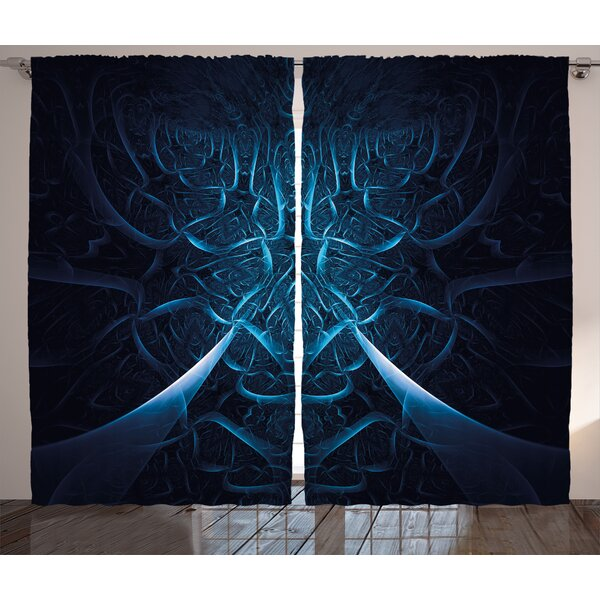 Spooky Hollow Abstract Room Darkening Rod Pocket Curtain Panels (Set of 2) by East Urban Home