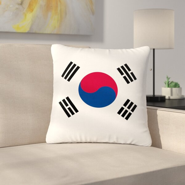 Bruce Stanfield Flag of Korea Digital Outdoor Throw Pillow by East Urban Home
