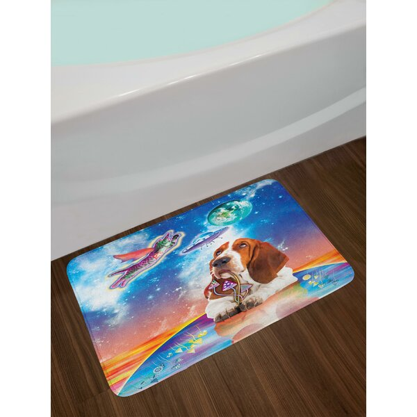 Cosmic Animals Flying Kitten Dog Mushroom UFO Planet Earth Vibrant Composition Bath Rug by East Urban Home