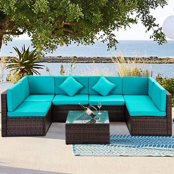 Jona Outdoor 7 Piece Rattan Sectional Seating Group with Cushions by Ebern Designs