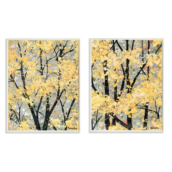 Early Spring Trees 2 Piece Print of Painting Wall Plaque Set by Stupell Industries