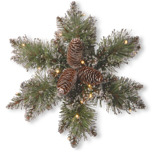 Green Pine Snowflake with 15 LED Lights by Loon Pe