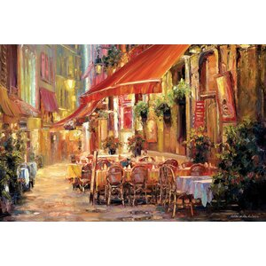 Café in Light Painting Print on Wrapped Canvas by Fleur De Lis Living
