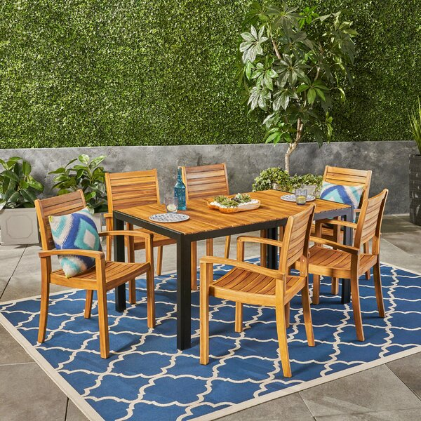 Diggs Outdoor 7 Dining Set by Millwood Pines