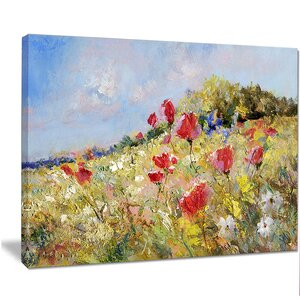 'Painted Poppies on Summer Meadow' Painting Print on Wrapped Canvas by Design Art