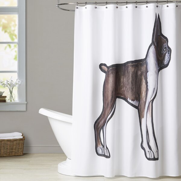 Mcdougle Boston Terrier Shower Curtain by Brayden Studio