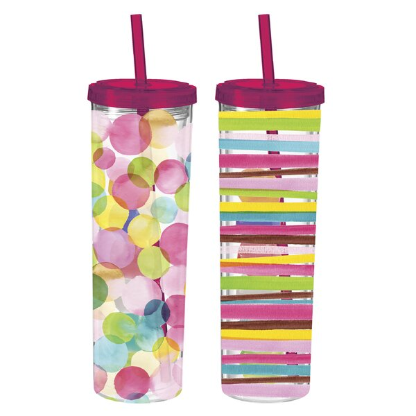 Mclean Sunshine 16 oz. Plastic Travel Tumbler (Set of 2) by Latitude Run