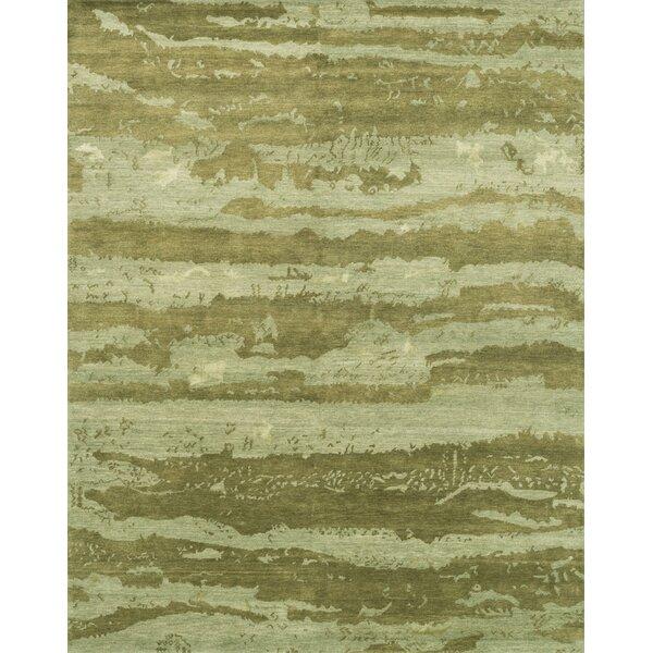 Shaunda Hand-Knotted Sea Foam Green Area Rug by Bloomsbury Market