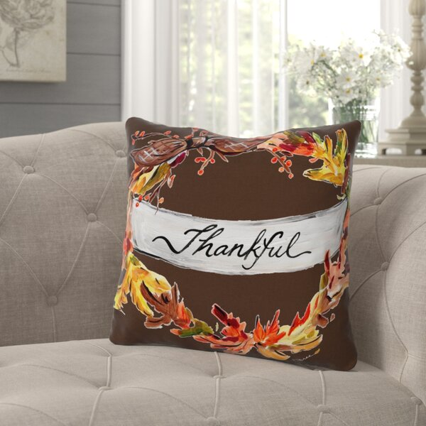 Roncy Thankful Throw Pillow by Gracie Oaks