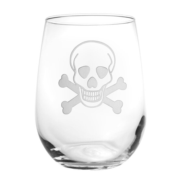 Skull & Cross Bones 17 Oz. Stemless Wine Glass (Set of 4) by Rolf Glass