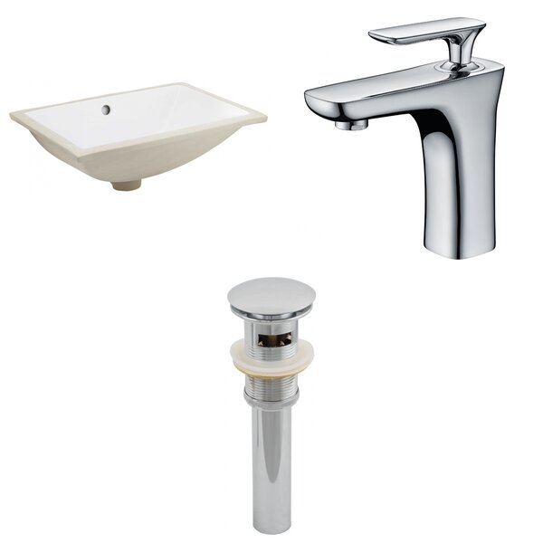 CUPC Ceramic Rectangular Undermount Bathroom Sink with Faucet and Overflow by Royal Purple Bath Kitchen