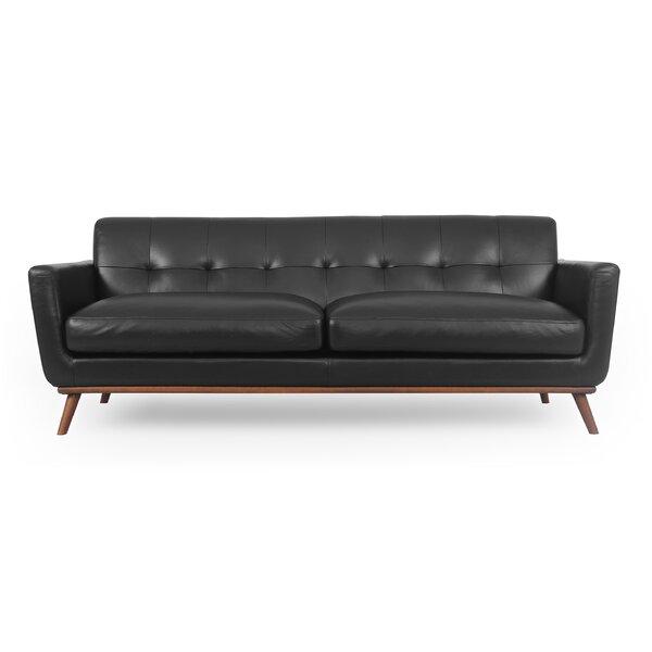 Luther Mid-Century Leather Sofa By Corrigan Studio